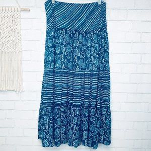 VINTAGE chaps tiered maxi swing skirt boho M blue
